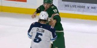 Marcus Foligno superman punch on Brenden Dillon
