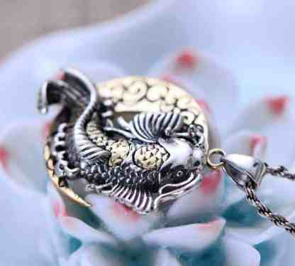 crescent moon necklace koi fish pendant