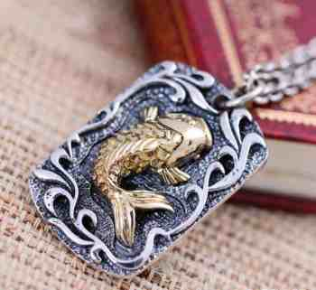 koi fish pendant pure 925 silver with detailed hand carved