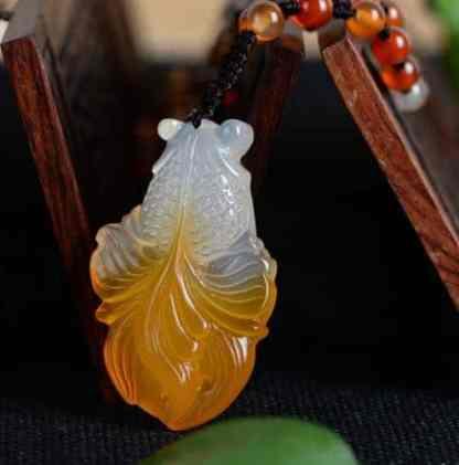 chalcedony goldfish fish jade necklace 3