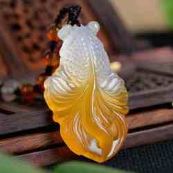 chalcedoney goldfish jade necklace 4