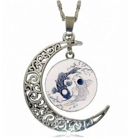 yin yang necklace koi fish tattoo style