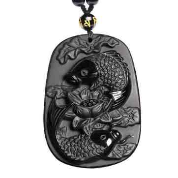 obsidian pendant koi fish pendant
