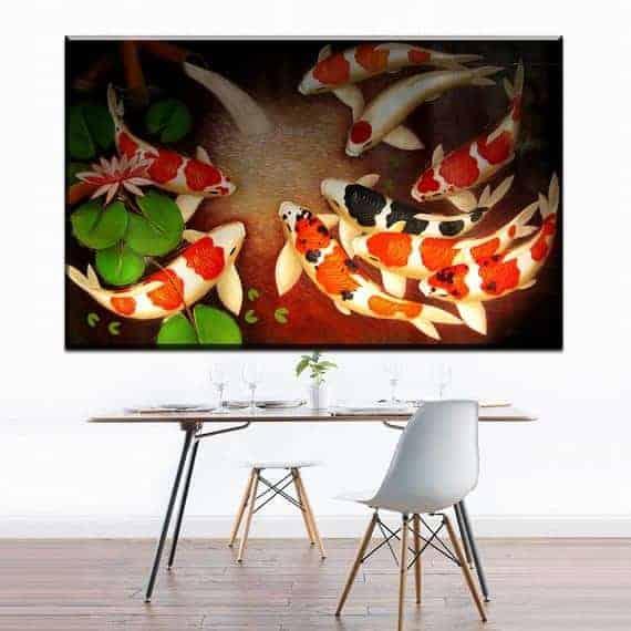 digital painting koi fish feng shui