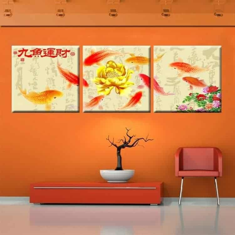 koi fish painting golden lotus flower chinese calligraphy painting