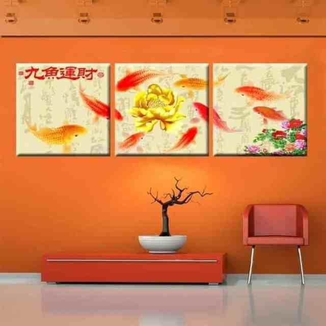 koi fish painting golden lotus flower chinese calligraphy painting