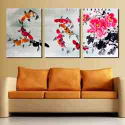 koi fish painting 8 lucky chinese feng shui koi fish painting with hibiscus flower