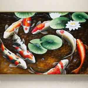 koi fish oil painting
