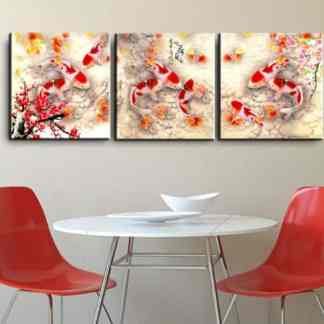 chinese calligraphy 9 koi fish feng shui painting
