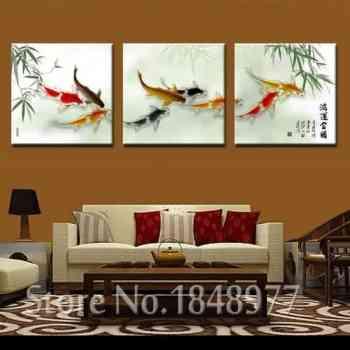 chinese calligraphy painting koi fish painting bamboo background