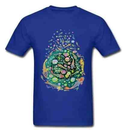 Koi fish shirt doodle art design blue color for sale