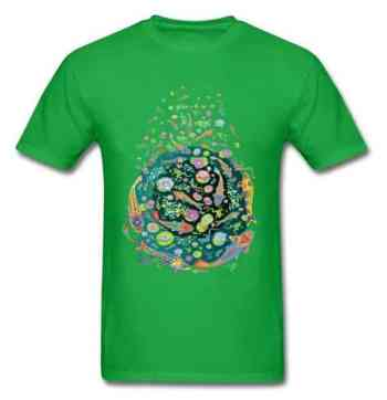 Koi fish shirt doodle art design green color for sale