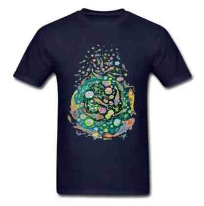 Koi fish shirt doodle art design for sale navy blue