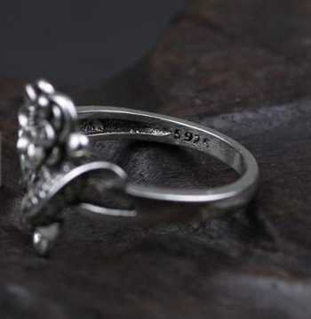 oxidized sterling silver ring engraved koi fish &lotus flower 100% pure sterling silver