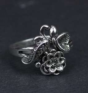 oxidized sterling silver ring engraved koi fish &lotus flower 100% pure sterling silver 2