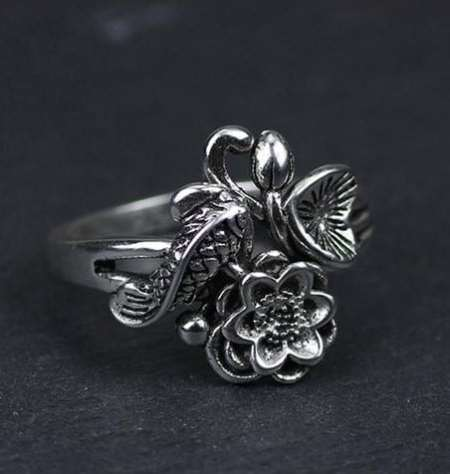 koi fish ring meaning oxidized sterling silver ring engraved koi fish &lotus flower 100% pure sterling silver