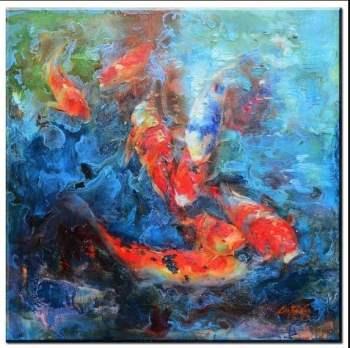 koi fish impasto painting for sale