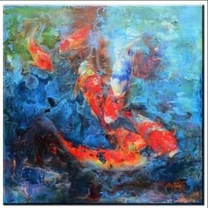 koi fish impasto painting