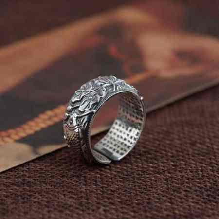 koi fish lotus flower couple ring