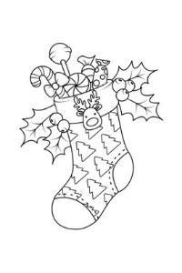 calza della befana con lecca lecca disegno da colorare