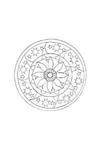 mandala per bambini con fiori e stelle