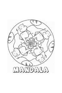 mandala per bambini da colorare e stampare con elefanti e ippopotami