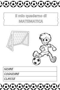 copertina del quaderno di matematica calcio