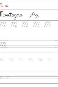 corsivo da stampare lettera m