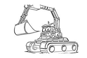 Super Truck disegni da colorare e stampare PDF Carl Trasform escavatore