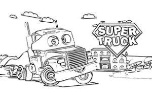 Super Truck disegni da colorare e stampare PDF Carl Trasform super eroe