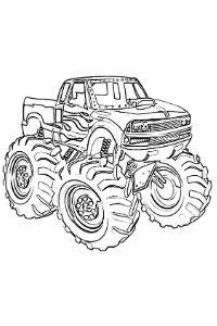 monster truck da colorare PDF con le fiamme