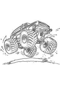 monster truck da colorare PDF salta