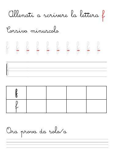 scrivi la lettera f in corsivo minuscolo