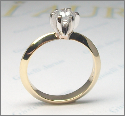 Solitaire ring gold bicolor yellow and white 18 ct with diamond engagement  eBay