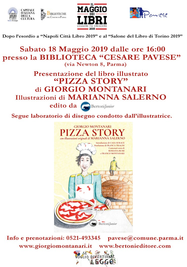 Locandina Pizza Story Biblioteca Pavese 18 maggio 2019
