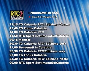 Oggi su RTC Telecalabria – programmazione del 24 maggio 2018
