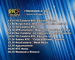 Oggi su RTC Telecalabria – programmazione del 26 maggio 2018