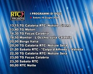 Oggi su RTC Telecalabria – programmazione del 16 giugno 2018