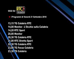 Oggi su RTC Telecalabria – Programmazione del 21 settembre 2018