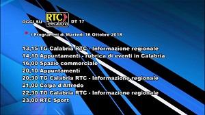 Oggi su RTC Telecalabria – Programmazione del 16 ottobre 2018
