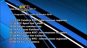Oggi su RTC Telecalabria – Programmazione del 18 ottobre 2018