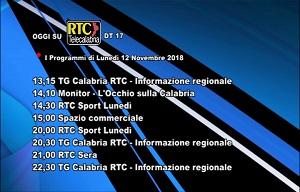 Oggi su RTC Telecalabria – Programmazione del 12 novembre 2018