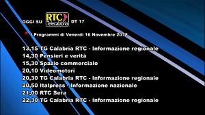 Oggi su RTC Telecalabria – Programmazione del 16 novembre 2018