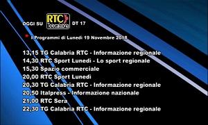 Oggi su RTC Telecalabria – Programmazione del 19 novembre 2018