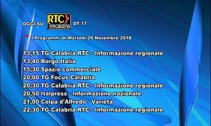 Oggi su RTC Telecalabria – Programmazione del 20 novembre 2018
