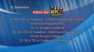 IN TV SU RTC – Martedì 22 Settembre
