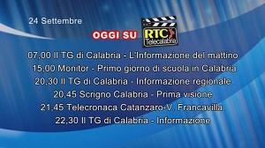 IN TV SU RTC – Giovedì 24 Settembre