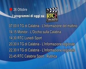 IN TV SU RTC – Lunedì 26 Ottobre