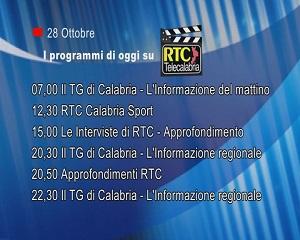IN TV SU RTC – Mercoledì 28 Ottobre