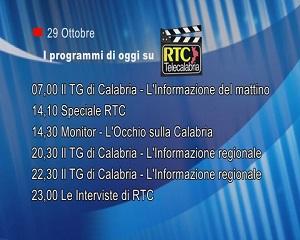 IN TV SU RTC – Giovedì 29 Ottobre